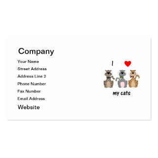 I Love My Cats Double-Sided Standard Business Cards (Pack Of 100)