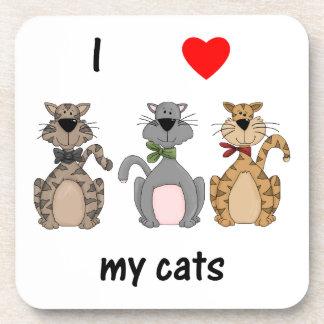 I Love My Cats Drink Coaster