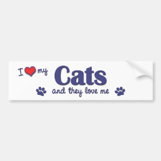 I Love My Cats (Multiple Cats) Bumper Sticker