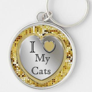 I Love My Cats Or ? Heart Keychain