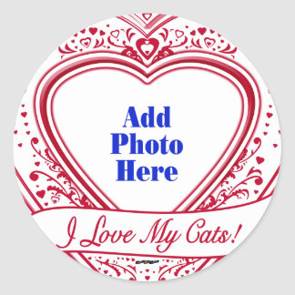I Love My Cats! Photo Red Hearts Classic Round Sticker
