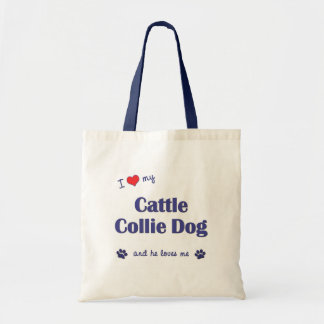 I Love My Cattle Collie Dog (Male Dog) Budget Tote Bag