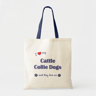 I Love My Cattle Collie Dogs (Multiple Dogs) Budget Tote Bag
