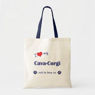 I Love My Cava-Corgi (Male Dog) Bags