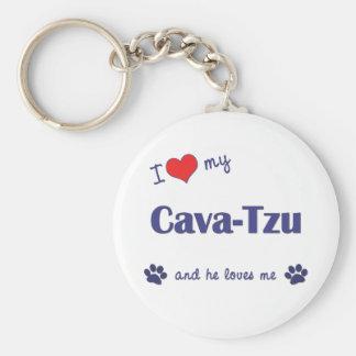I Love My Cava-Tzu (Male Dog) Keychain