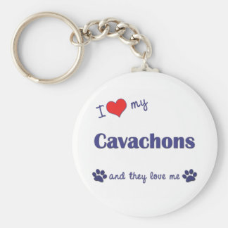 I Love My Cavachons (Multiple Dogs) Basic Round Button Keychain