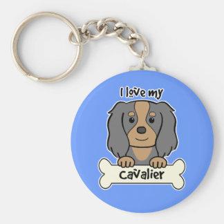 I Love My Cavalier King Charles Spaniel Basic Round Button Keychain