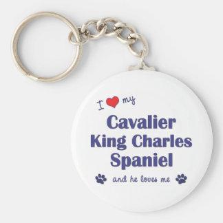 I Love My Cavalier King Charles Spaniel (Male Dog) Basic Round Button Keychain