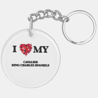 I love my Cavalier King Charles Spaniels Double-Sided Round Acrylic Keychain