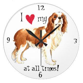 I Love my Cavalier Large Clock
