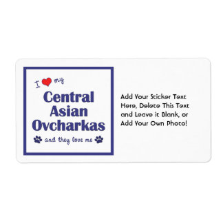I Love My Central Asian Ovcharkas (Multiple Dogs) Label