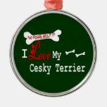 I Love My Cesky Terrier Christmas Ornament