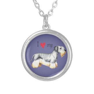 I Love my Cesky Terrier Silver Plated Necklace