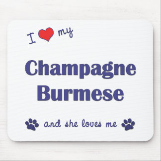 I Love My Champagne Burmese (Female Cat) Mouse Pad