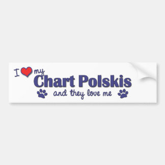 I Love My Chart Polskis (Multiple Dogs) Car Bumper Sticker