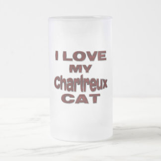 I LOVE MY CHARTREUX CAT drk rd Frosted Glass Beer Mug