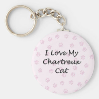 I Love My Chartreux Cat Keychain