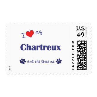 I Love My Chartreux (Female Cat) Postage Stamps