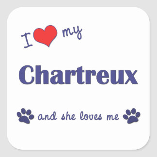 I Love My Chartreux (Female Cat) Square Sticker