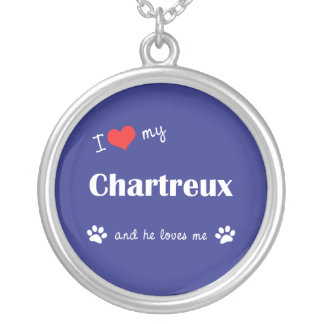 I Love My Chartreux (Male Cat) Round Pendant Necklace