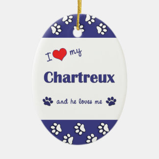 I Love My Chartreux (Male Cat) Double-Sided Oval Ceramic Christmas Ornament
