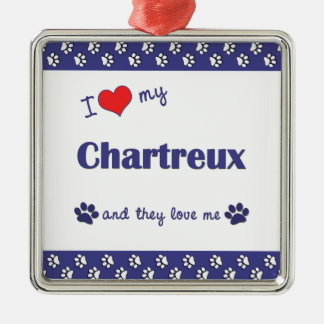 I Love My Chartreux (Multiple Cats) Square Metal Christmas Ornament
