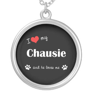 I Love My Chausie (Male Cat) Round Pendant Necklace
