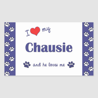I Love My Chausie (Male Cat) Rectangle Sticker