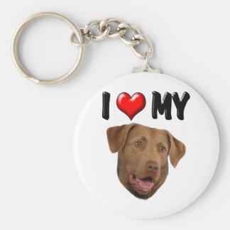 I Love My Chesapeake Bay Retriever Basic Round Button Keychain