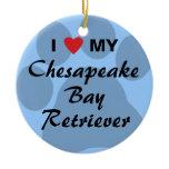 I Love My Chesapeake Bay Retriever Ceramic Ornament