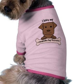 I Love My Chesapeake Bay Retriever Pet Tee Shirt