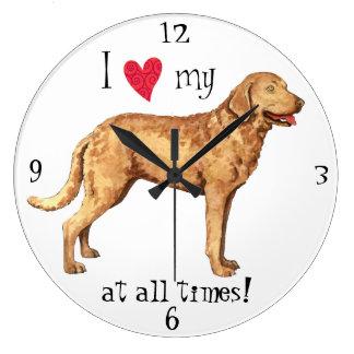I Love my Chesapeake Bay Retriever Large Clock