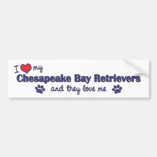 I Love My Chesapeake Bay Retrievers (Multi Dogs) Bumper Stickers