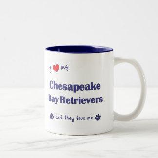 I Love My Chesapeake Bay Retrievers (Multi Dogs) Two-Tone Coffee Mug