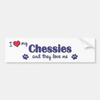 I Love My Chessies (Multiple Dogs) Bumper Sticker