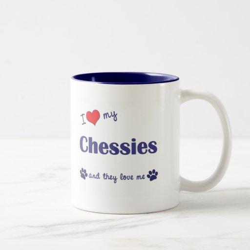 I Love My Chessies (Multiple Dogs) Two-Tone Coffee Mug