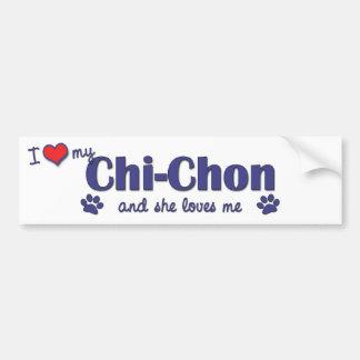 I Love My Chi-Chon (Female Dog) Bumper Sticker
