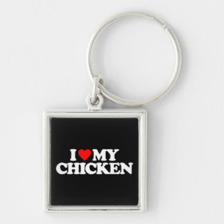 I LOVE MY CHICKEN Silver-Colored SQUARE KEYCHAIN