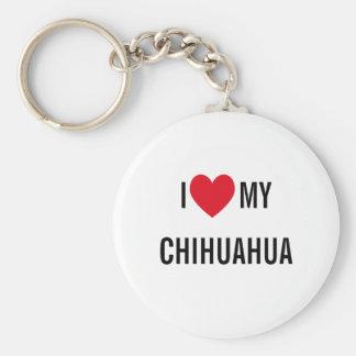 I Love My Chihuahua Basic Round Button Keychain
