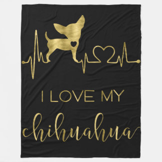 I Love My Chihuahua Black Fleece Blankets