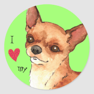 I Love my Chihuahua Classic Round Sticker