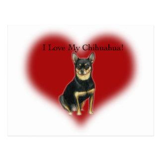 """I Love My Chihuahua"" Dog Art Postcard"