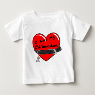 I Love My Chihuahua Heart with Dog Collar Baby T-Shirt