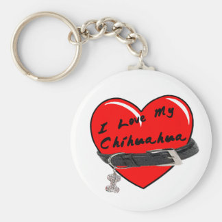 I Love My Chihuahua Heart with Dog Collar Basic Round Button Keychain