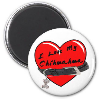 I Love My Chihuahua Heart with Dog Collar 2 Inch Round Magnet
