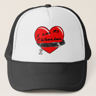 I Love My Chihuahua Heart with Dog Collar Trucker Hat