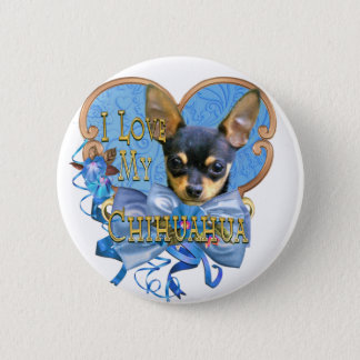 I Love My Chihuahua in Blue Heart Pinback Button