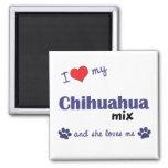 I Love My Chihuahua Mix (Female Dog) 2 Inch Square Magnet