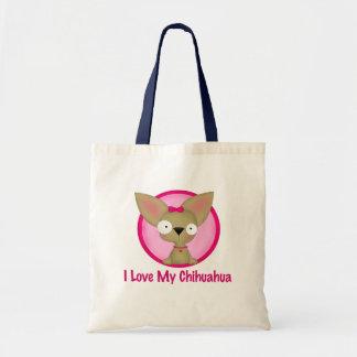 I Love My Chihuahua (pink) Canvas Bag