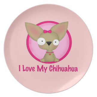 I Love My Chihuahua (Pink) Party Plates